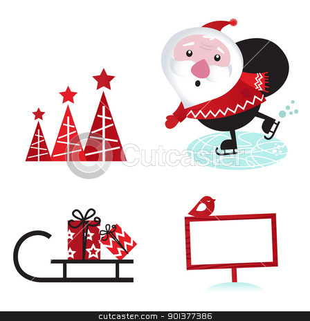 Winter design retro christmas elements isolated on white stock vector clipart, Cute retro Santa with christmas elements. Vector cartoon Illustration.  by BEEANDGLOW