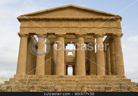 Ruins of Concord temple in Agrigento. stock photo, Ruins of Temple of Concord in Valley of the Temples in Agrigento (Akragas), Sicily. After Theseion in Athens, it is the best preserved Greek temple in the world. by pawelkowalczyk