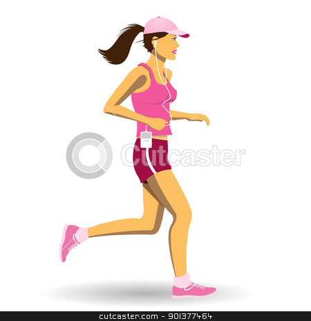 Woman Jogging stock vector clipart, A Pretty Woman Jogging, Running by Binkski Art