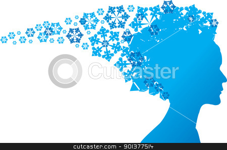 Snow Queen stock vector clipart, Snow Queen - blue silhouette on white background by orson