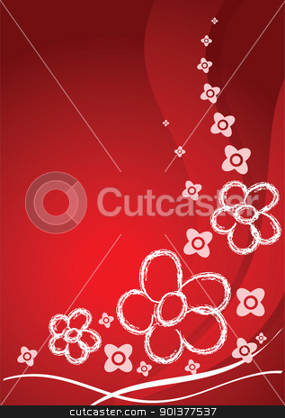 Red card with flowers stock vector clipart, Red card with flowers and curves by orson