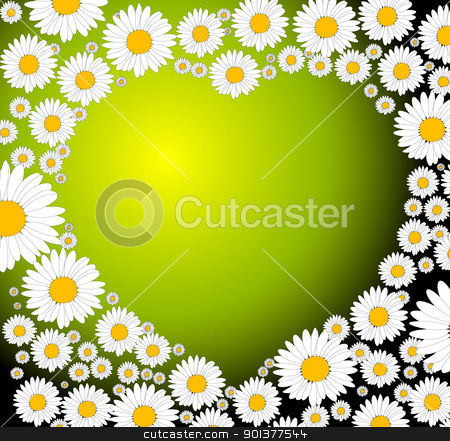 Green heart made from flowers stock vector clipart, Green heart made from small flowers by orson