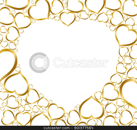 Background with golden hearts stock vector clipart, Valentines background with golden hearts on white by orson