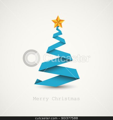 Simple vector christmas tree made from paper stripe stock vector clipart, Simple vector christmas tree made from paper stripe - original new year card by orson