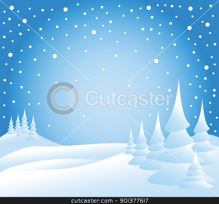 Snow falling on the trees stock vector clipart, Snow falling on the trees - vector illustration by orson