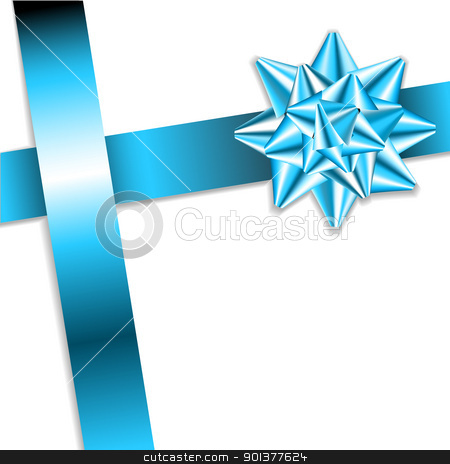 blue bow on a blue ribbon stock vector clipart, blue bow on a blue ribbon with white background - vector Christmas card  by orson