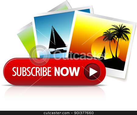 Big red subscribe now button stock vector clipart, Big red subscribe now button with images for subscription by orson