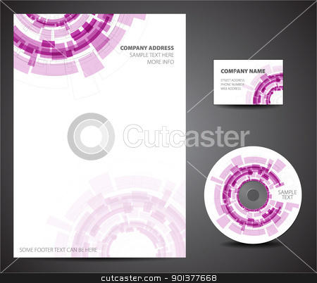 Design template set - business card, cd, paper stock vector clipart, Purple Design template set - business card, cd, paper by orson