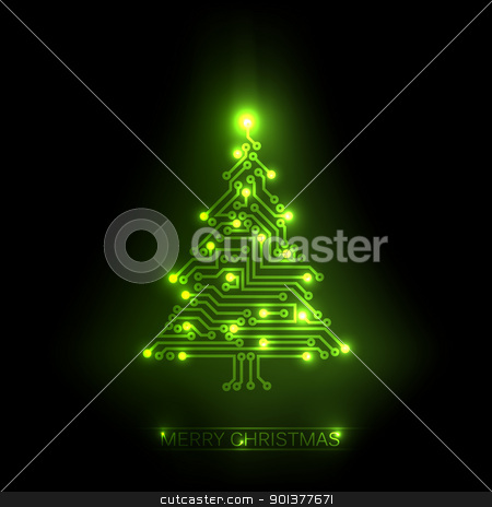Vector christmas tree from digital circuit stock vector clipart, Vector christmas tree from digital electronic green circuit and lights by orson