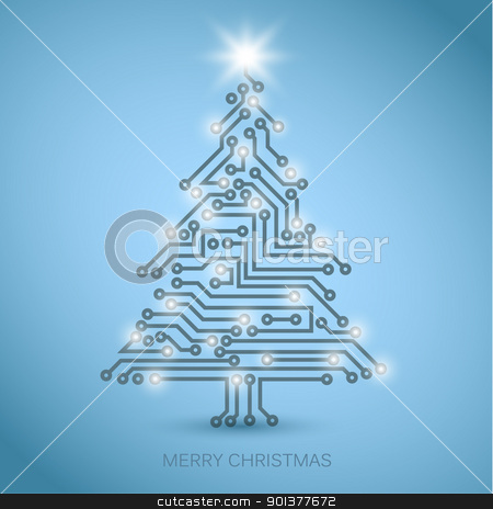 Vector christmas tree from digital electronic circuit stock vector clipart, Vector christmas tree from digital electronic circuit - blue version with white lights by orson