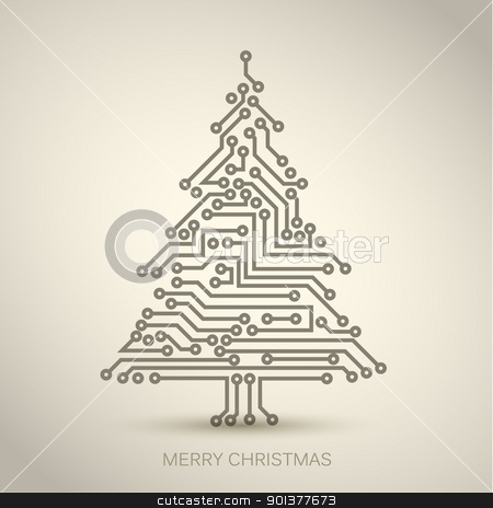 Vector christmas tree from digital circuit stock vector clipart, Vector christmas tree from digital electronic circuit by orson