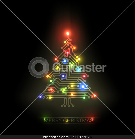 Vector christmas tree from digital circuit stock vector clipart, Vector christmas tree from digital electronic circuit and colorful lights by orson