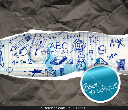 Back to school poster with doodle illustrations stock vector clipart, Back to school poster with doodle illustrations on squared paper by orson