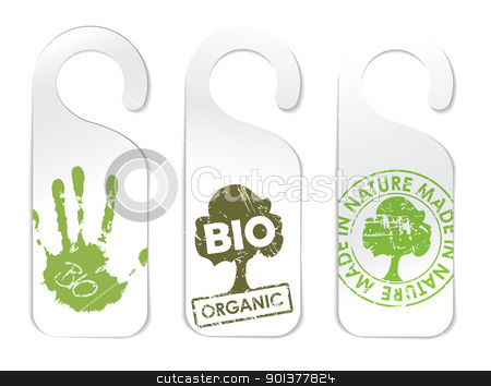 Set of three tags for organic products stock vector clipart, Set of three tags for organic / bio / eco food by orson