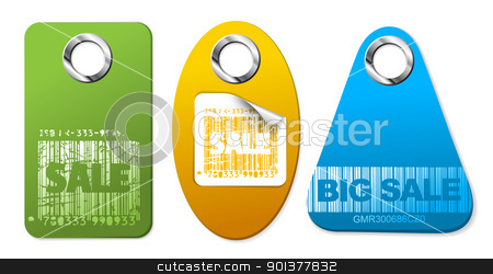 Set of sale colorful tags stock vector clipart, Set of sale colorful tags with metal rings by orson
