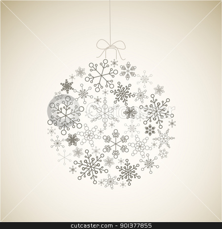 Vector Christmas ball made from gray simple snowflakes  stock vector clipart, Vector Christmas ball made from gray simple snowflakes on light background - Christmas card by orson