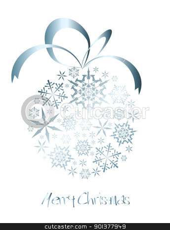 Christmas ball made from silver snowflakes  stock vector clipart, Christmas ball made from silver snowflakes on a white background (vector) by orson