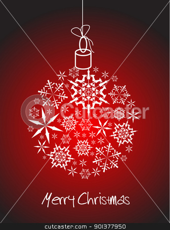 Christmas ball made from white snowflakes stock vector clipart, Christmas ball made from white snowflakes on red background by orson
