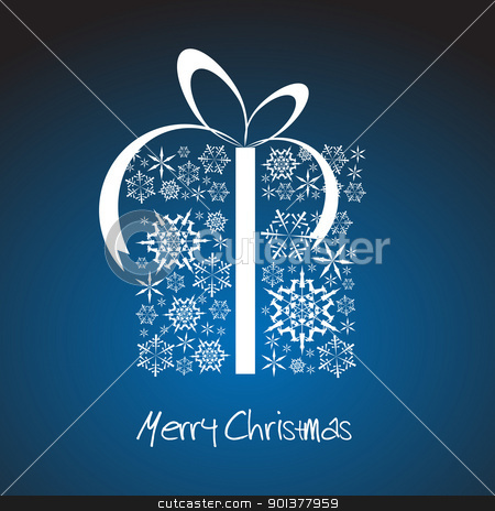 Stylized Christmas present box  stock vector clipart, Christmas present box made from white snowflakes by orson