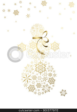 snowman made from golden snowflakes stock vector clipart, Stylized snowman made from golden snowflakes (vector) by orson