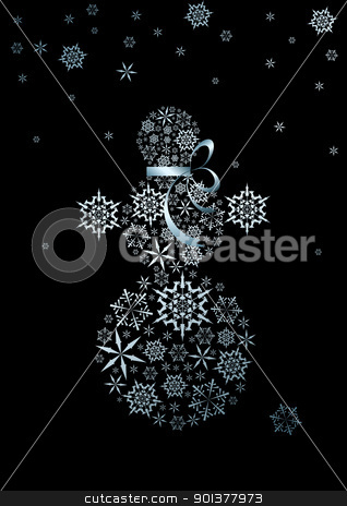 snowman made from silver snowflakes stock vector clipart, Stylized snowman made from silver snowflakes (vector) by orson