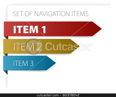 modern navigation items stock vector clipart, Paper arrows - modern navigation items on white background (vector)  by orson