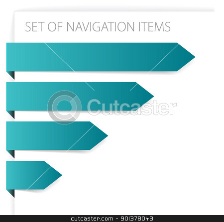 Paper arrows - modern navigation items stock vector clipart, Paper arrows - modern navigation items on white background (vector) by orson