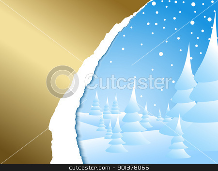 snowy winter landscape  stock vector clipart, Christmas card with snowy winter landscape  by orson