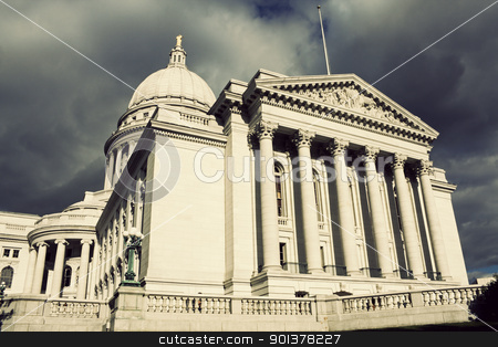 State Capitol Building in Madison before the storm stock photo, State Capitol Building in Madison before the storm. Summer time. by Henryk Sadura