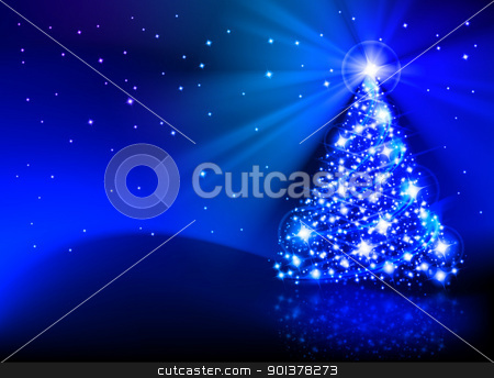 The best Christmas tree stock photo, The Best Christmas Tree. Illustration on blue background by dvarg