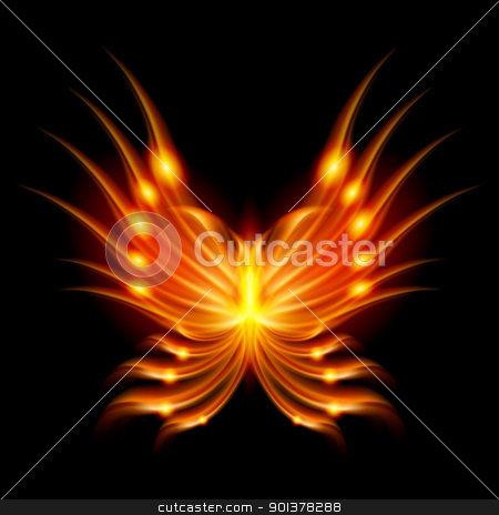 Flying butterfly with fiery wings stock photo, Flying butterfly with fiery wings. Abstract Illustration on black background by dvarg