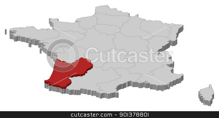 Map of France, Aquitaine highlighted stock vector clipart, Political map of France with the several regions where Aquitaine is highlighted. by Schwabenblitz