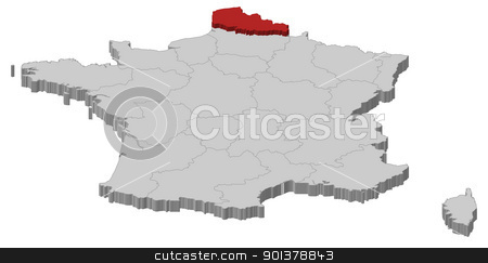 Map of France, Nord-Pas-de-Calais highlighted stock vector clipart, Political map of France with the several regions where Nord-Pas-de-Calais is highlighted. by Schwabenblitz