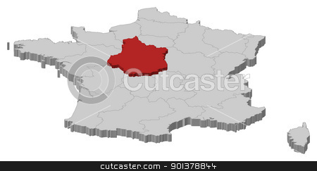Map of France, Centre highlighted stock vector clipart, Political map of France with the several regions where Centre is highlighted. by Schwabenblitz