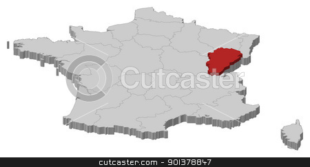 Map of France, Franche-Comte highlighted stock vector clipart, Political map of France with the several regions where Franche-Comt is highlighted. by Schwabenblitz