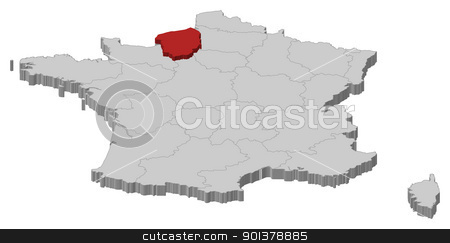 Map of France, Upper Normandy highlighted stock vector clipart, Political map of France with the several regions where Upper Normandy is highlighted. by Schwabenblitz