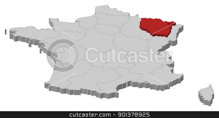 Map of France, Lorraine highlighted stock vector clipart, Political map of France with the several regions where Lorraine is highlighted. by Schwabenblitz