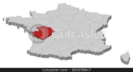 Map of France, Poitou-Charentes highlighted stock vector clipart, Political map of France with the several regions where Poitou-Charentes is highlighted. by Schwabenblitz