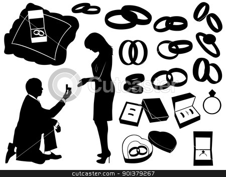 Proposal stock vector clipart, Illustration of a marriage proposal and different objects by Ioana Martalogu
