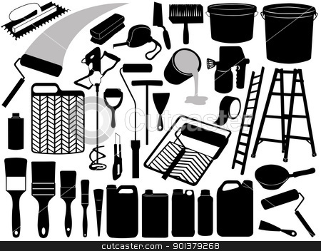 Illustration of different painting objects stock vector clipart, Illustration of different painting objects isolated on white by Ioana Martalogu