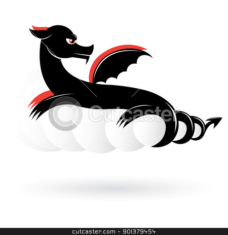 Abstract black dragon stock photo, Abstract black dragon number two. Illustration on white background for design.  by dvarg