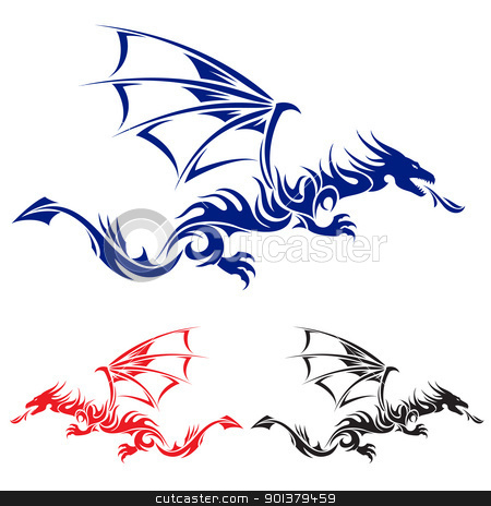 Asian tattoo dragon. stock photo, Flying Dragon. Blue, red and black Asian tattoo. Illustration on white background. by dvarg