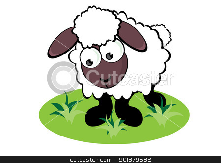 Cartoon Sheep stock photo, Cartoon Sheep on the meadow. Illustration for design by dvarg