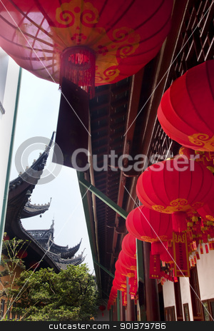 Red Lanterns Jade Buddha Temple Jufo Si Shanghai China stock photo, Red Lanterns Jade Buddha Temple Jufo Si Shanghai China Most famous buddhist temple in Shanghai by William Perry