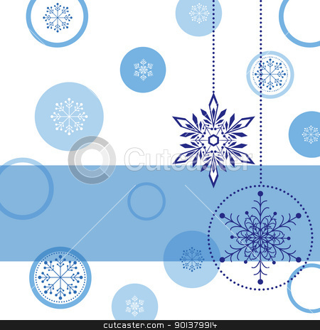 Christmas greeting card stock photo, Christmas greeting card with snowflake ball and star by meikis
