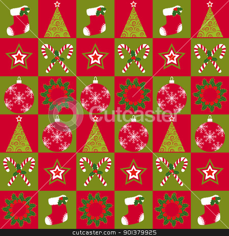 Christmas ornament seamless pattern stock photo, Christmas ornament seamless pattern red green background by meikis