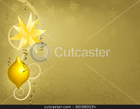 Gold Christmas ornament background  stock vector clipart, A gold Christmas ornament decoration background illustration by Christos Georghiou