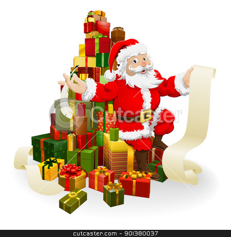 Santa with gifts list stock vector clipart, Santa with his list and and quill pen seated on a stack of gifts by Christos Georghiou