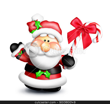 Gumdrop Cartoon Santa Holding Candy Cane stock photo, An adorable Santa holding a candy cane. by Bill Fleming
