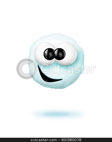 Cartoon Snowball stock photo, An adorable snowball hovering. by Bill Fleming